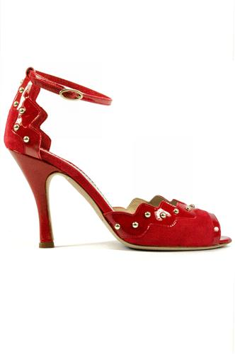f6e6604b23 Claire Red Suede Patent Leather Studs, MINA BUENOS AIRES